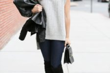 With black leather jacket, jeans, small bag and black high boots