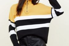 With black leather skirt