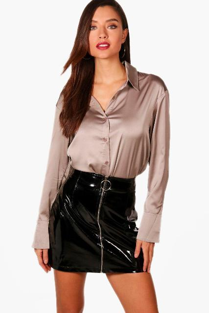 With black patent leather mini skirt