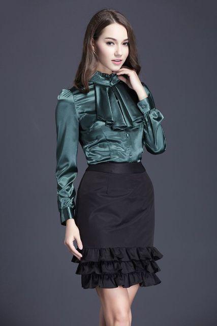 With black ruffled skirt