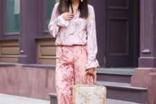 With blouse, white and beige bag and printed shoes