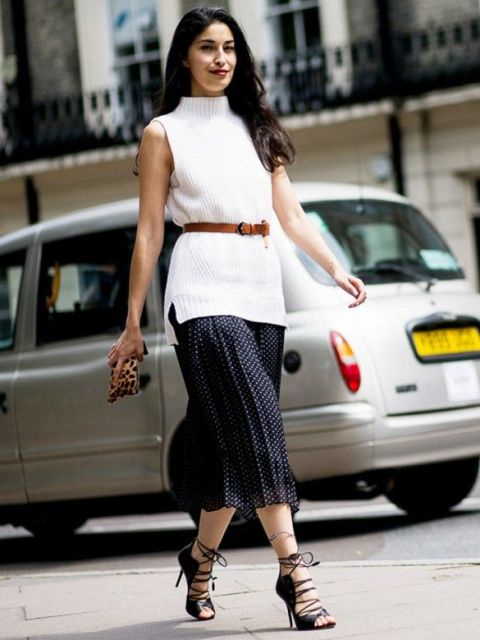 With brown belt, leopard clutch, polka dot midi skirt and lace up shoes