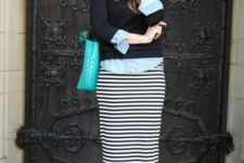 With button down shirt, black sweater, colored bag and high heels