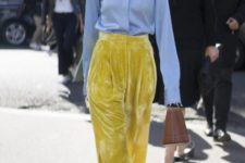With button down shirt, brown bag and yellow shoes
