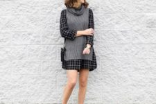 With checked mini dress, black bag and gray boots