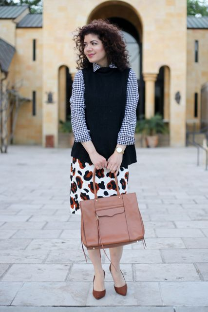 With checked shirt, printed pencil skirt, pale pink bag and brown shoes