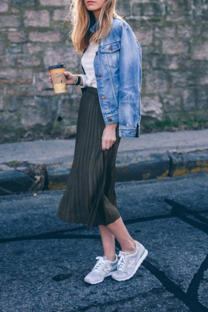 With denim jacket, white shirt and sneakers