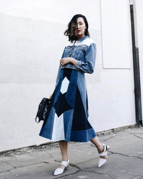 With denim jacket, white shoes and black bag