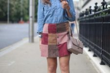 With denim shirt, beige bag and beige flats