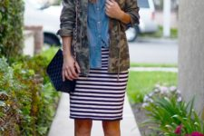 With denim shirt, jacket, chain strap bag and ankle boots
