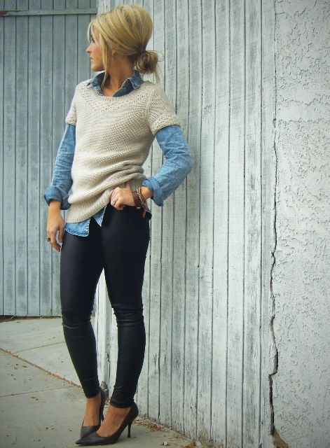 With denim shirt, skinny pants and pumps