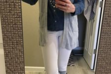 With denim shirt, white pants, gray high boots and necklace