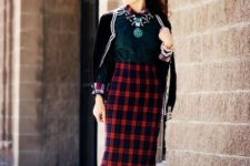 With emerald blouse, cardigan, leopard shoes and sunglasses