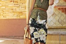 a spring look with a floral dress and a jacket