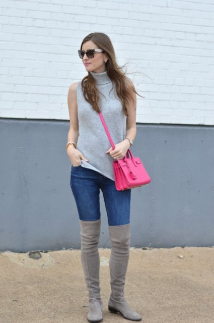 With jeans, gray over the knee boots and pink bag