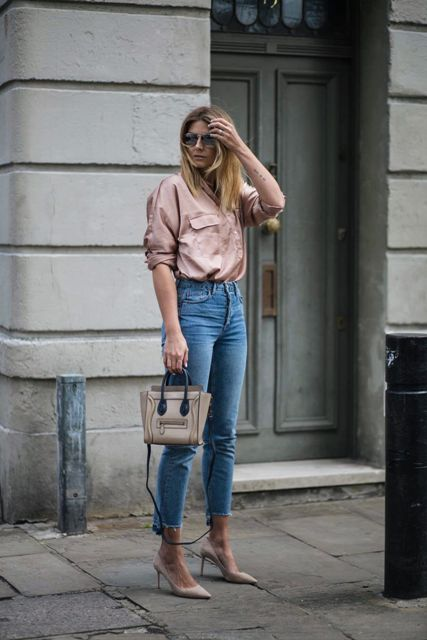 With jeans, small bag and beige pumps