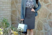 With leopard shirt, gray blazer, bag and white and golden shoes