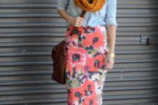 With light blue shirt, orange scarf, brown bag and platform shoes