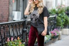With loose t-shirt, leopard pumps and black clutch