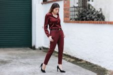 With marsala pants, black shoes and black belt
