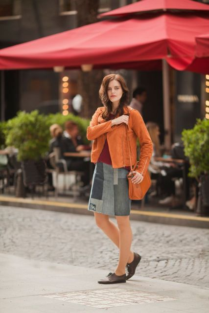 With marsala shirt, brown jacket, brown bag and lace up shoes