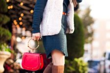 With navy blue dress, red belt, red bag and brown suede boots