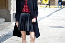 With plaid shirt, black coat, cap and high heels