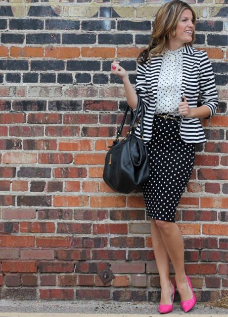 With polka dot blouse, striped blazer, black bag and hot pink pumps