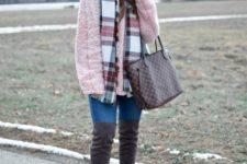 With pom pom hat, plaid scarf, jeans, gray over the knee boots and printed tote