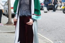 With printed blouse, silver shoes and long cardigan