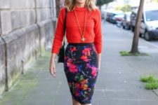 With red sweater, black small bag and black ankle strap shoes