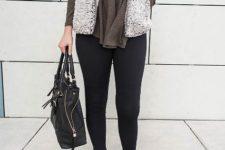 With shirt, black leggings, black bag and black shoes