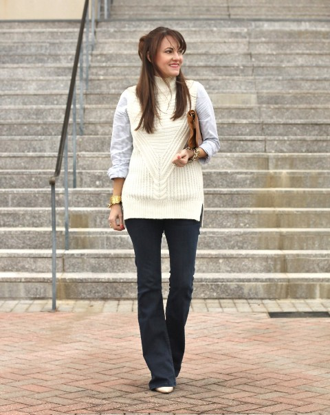 With shirt, clutch, flare jeans and white shoes