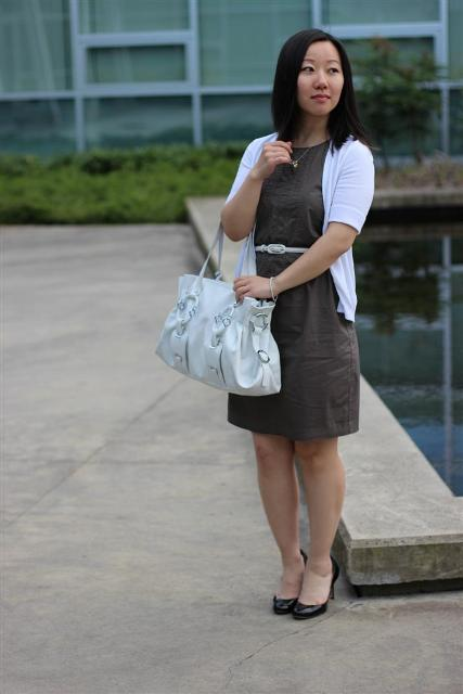 With straight dress, white belt, white bag and pumps
