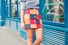 stylish look with a patchwork skirt