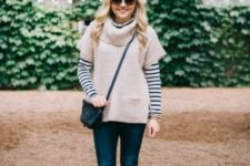 With striped shirt, crossbody bag, skinny jeans and lace up shoes