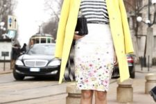 a cute outfit with a bright yellow coat