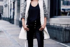 With top, cardigan and silver shoes