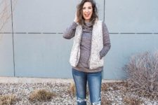 vest and turtleneck combo outfit