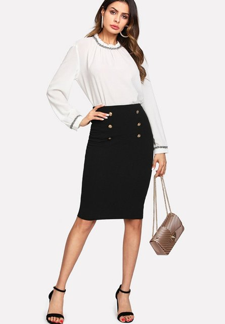 With white blouse, black shoes and chain strap bag
