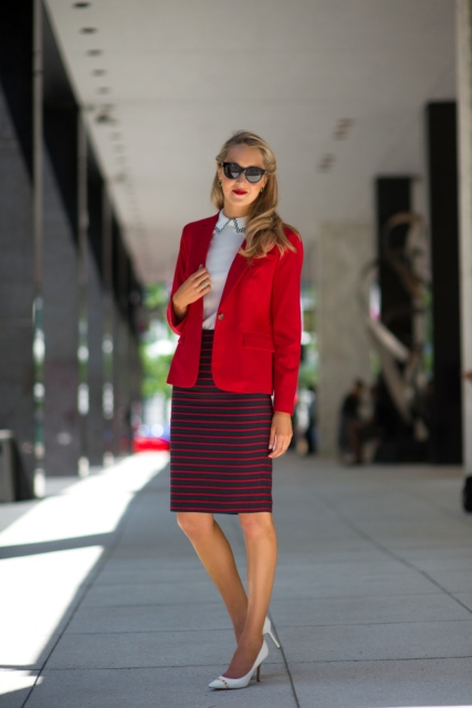 With white blouse, red blazer and white pumps