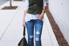 With white shirt, distressed cuffed jeans, embellished bag and black shoes