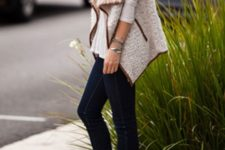 With white shirt, jeans and ankle boots