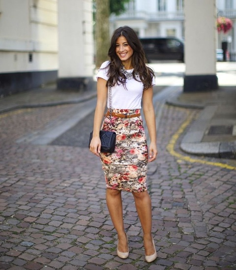 With white t-shirt, chain strap bag and high heels