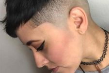 a short undercut pixie in black is a very daring idea for those who love to experiment