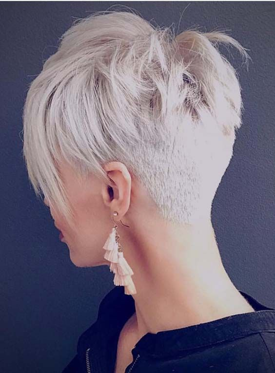 a superb undercut short pixie in icy blonde is a chic and statement idea to rock
