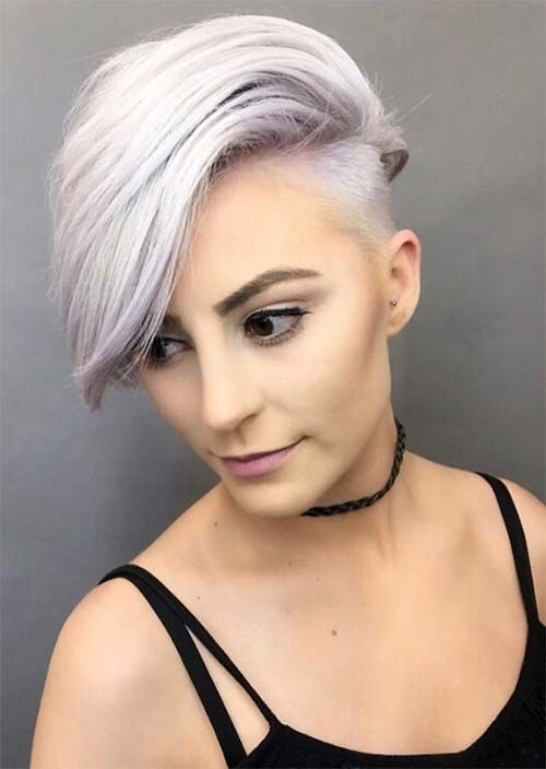 Picture Of An Edgy Undercut Long Pixie Hairstyle With A Touch Of