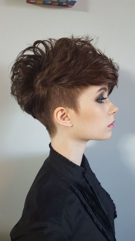 an undercut long pixie haircut in chestnut is a chic idea for those who love longer hair