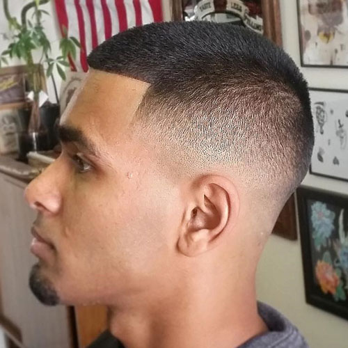 a buzz fade and shape up is a cool idea for guys who don't like much styling or fuss