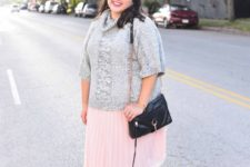 02 a grey slouchy sweater with short sleeves, a blush pleated skirt and glitter sneakers for a colder day